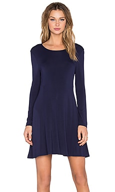 BLQ BASIQ Long Sleeve Shift Dress in Dark Navy