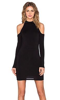 BLQ BASIQ Open Shoulder Mini Dress in Black