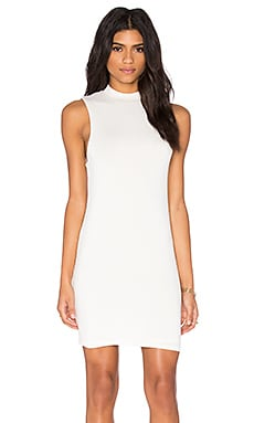 Mock Neck Mini Dress in White