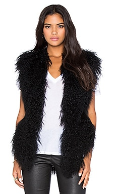BLQ BASIQ Mongolian Lamb Fur Vest in Black