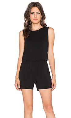 BLQ BASIQ Open Back Romper in Black