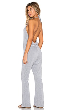 Halter Low Back Jumpsuit en Gris Chiné