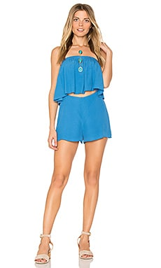 Strapless Romper in Denim Blue
