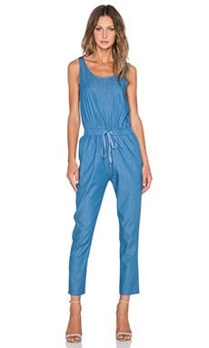 BLQ BASIQ Chambray Scoop Neck Jumpsuit in Denim Blue