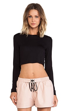 BLQ Basics Cropped Long Sleeve Top en Noir
