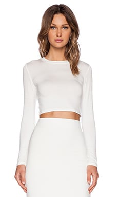 BLQ Basics Cropped Long Sleeve Top in White