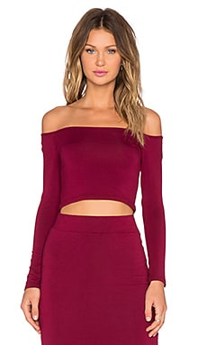 BLQ BASIQ Off The Shoulder Crop Top in Burgundy