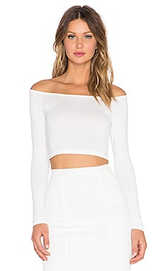 BLQ BASIQ Off The Shoulder Crop Top in White
