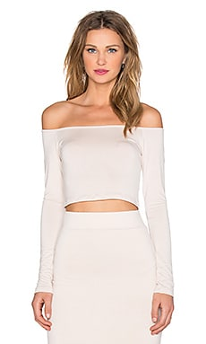 x REVOLVE Exclusive Off Shoulder Crop Top in Putty