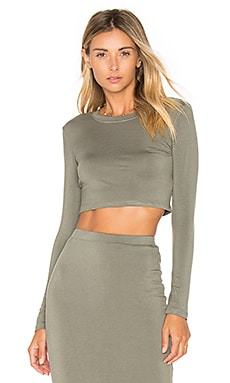 Long Sleeve Crop Top in Graphite