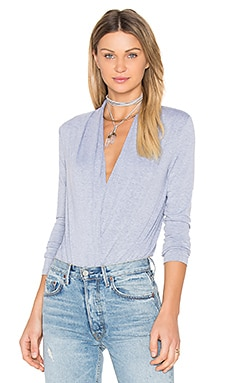 Ruching Long Sleeve Bodysuit en Gris Chiné