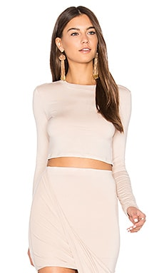 Long Sleeve Crop Top in Creme