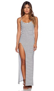 Blue Life Slit Tank Dress in White & Black
