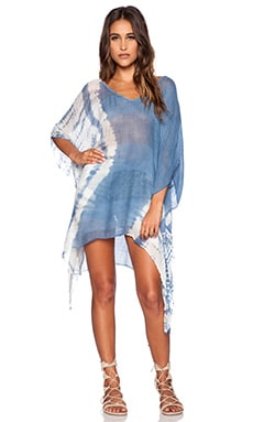 Blue Life V Neck Cape Cool Caftan in Denim Tie Dye