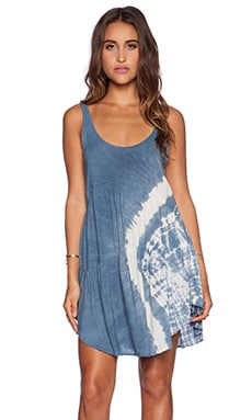 Blue Life Baby Doll Tank Dress in Denim Tie Dye