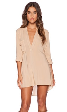 Blue Life Shirt Dress in Tan
