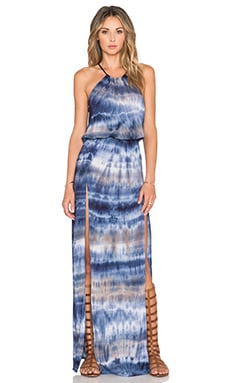 Blue Life 2 Slits Halter Dress in Riptide Tie Dye