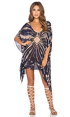 Blue Life V Neck Cape Cool Dress in Indigo & Sand