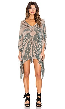 Blue Life V Neck Cape Cool Dress in Tahitian Sands