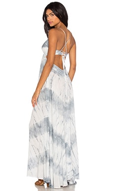 Criss Cross Back Maxi Dress in White Feather