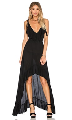 Hi Low Ruffle Dress in Onyx