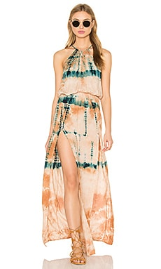 Double Slit Halter Dress en Desert Citrine