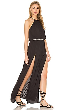Blue Life Double Slit Maxi Dress in Soft Black