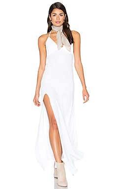 One Slit Halter Maxi in White