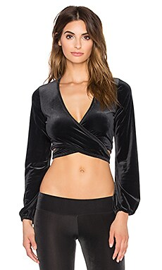 Blue Life Fit Ballet Wrap Top in Onyx
