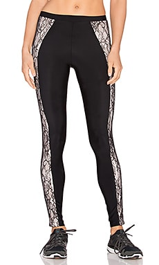 Blue Life Lace Contrast Legging in Black