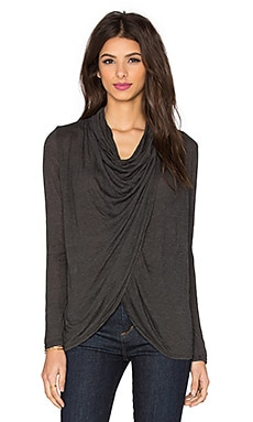 Blue Life Fit Cowl Neck Top in Granite
