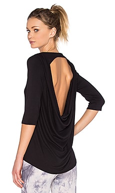 Blue Life Fit Open Back T Shirt in Black