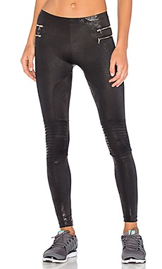Zipper Moto Legging in Metallic Black
