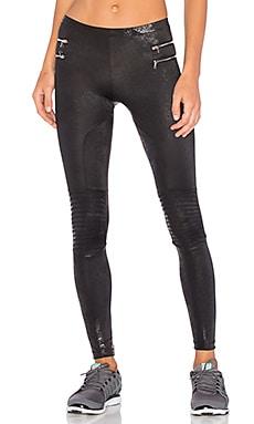 Blue Life Zipper Moto Legging in Metallic Black