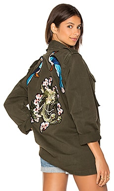 X Good F*ckin' Vibes Blue Bird Army Jacket in Green