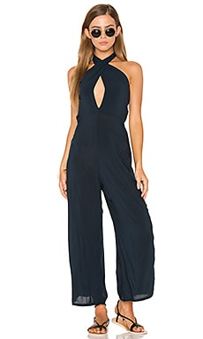 Electra Tie Front Jumpsuit in Deep Sea