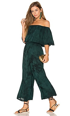 Pandora Ruffle Jumpsuit in Emerald Coast