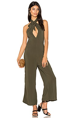 Electra Tie Front Jumpsuit in Olive Solid