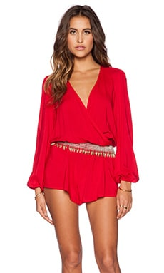 Blue Life Sweetheart Romper in Red