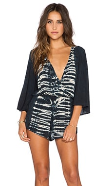 Blue Life Wild & Free Romper in Black Beach Tie Dye