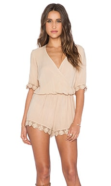 Blue Life 3/4 Sleeve Boho Romper in Tan
