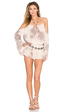 Cold Shoulder Romper in Desert Sunset
