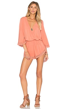 Blue Life Wild & Free Romper in Salmon