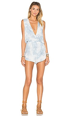 Deep V Romper in Blue Cream