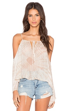 Blue Life Open Shoulder Top in Beach Tie Dye