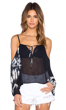 Blue Life Open Shoulder Top in Black & White Tie Dye