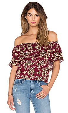 Blue Life Dreamy Ruffle Top in Bordeaux Floral