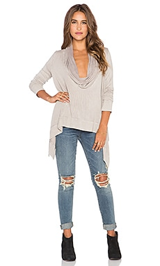 Blue Life Hi-Low Cowl Hoodie Top in Sand