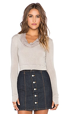 Blue Life Cowl Neck Crop Top in Sand