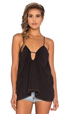 Criss Cross Back Tank in Soft Black